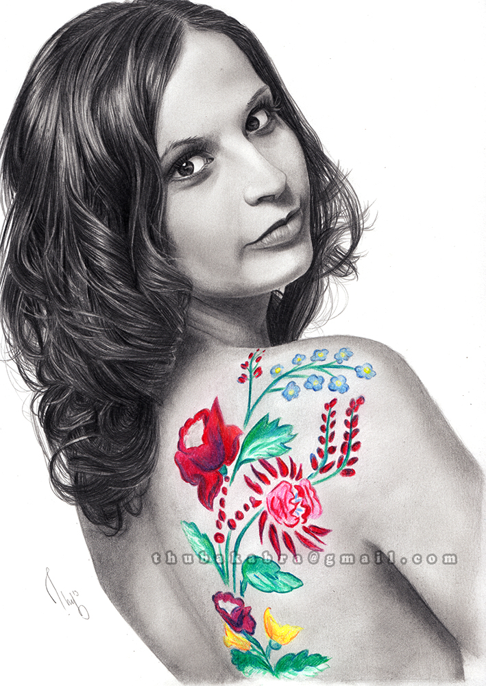 Body Painted Girl Pencil Drawing