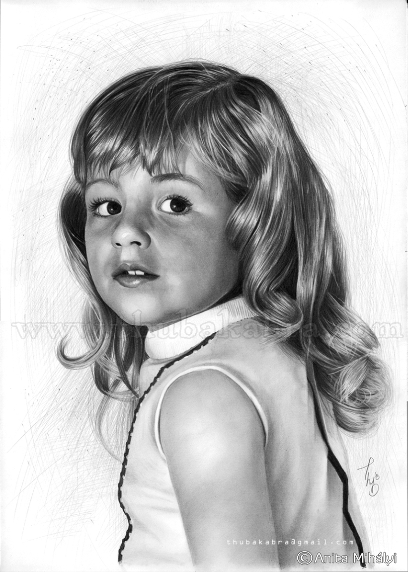 Pencil Portrait from an Old Photo of a Child
