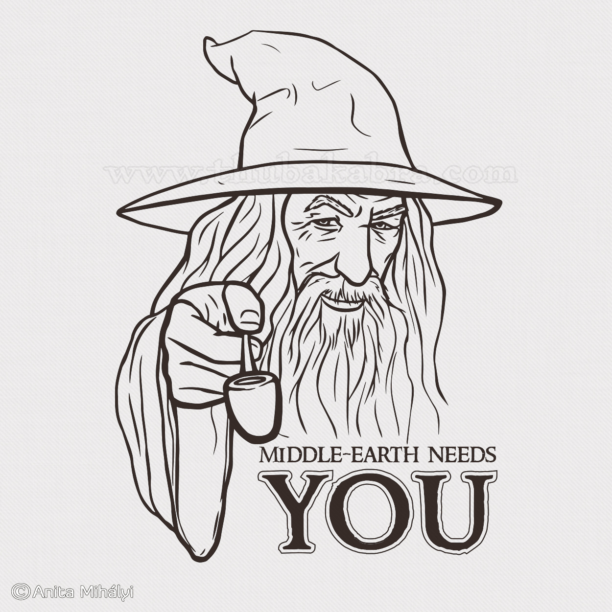 Gandalf Design Line Art